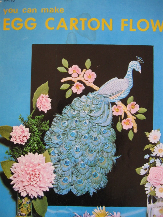 Vintage Craft Book Egg Carton Flowers And Peacock