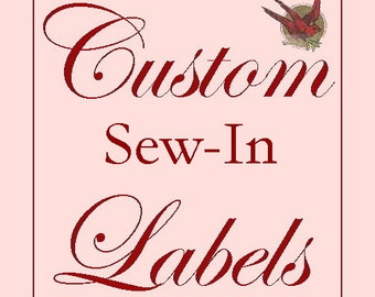 120 Custom Cotton SEW-IN Labels- Fabric Garment Tags with YOUR Logo