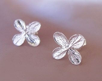 Hydrangea Flower Post Earrings in Sterling Silver, Flower Stud Earrings, Free Shipping