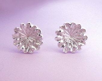Sterling Silver Flower Post Earrings - Poppy