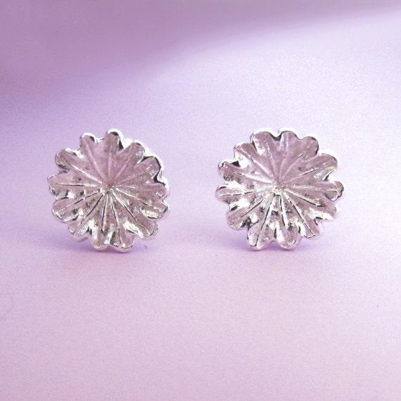 Sterling Silver Flower Post Earrings - Poppy