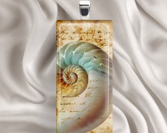 Vintage Nautilus - Rectangle Glass Tile Pendant
