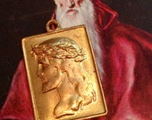 50s Vintage CROWN THORNS MEDAL Jesus