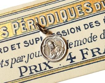 TINIEST SCAPULAR MEDAL Antique Vintage Religious Super Miniature