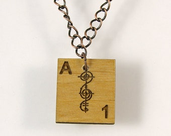 Vulcan Scrabble Letter A Necklace