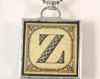 Letter Z Initial Pendant Necklace