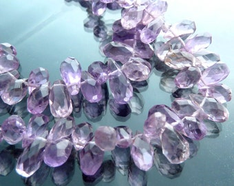 SALE Faceted Amethyst briolettes beads lot 20 microfaceted teardrop brios organic light purple 1/4 strand