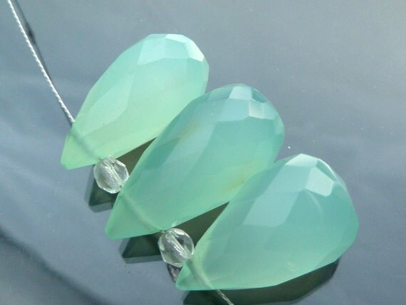 AAA Trio Sea Foam Chalcedony faceted briolettes big set green blue focal beads