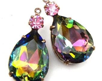 Vitrail or Rainbow Teardrop Beads, Patina Brass Settings, Choose Your Color, Rhinestone Jewels, Glass Pear Jewel, 26mm x 13mm, One Pair