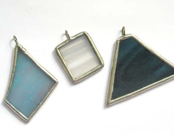 Blue And Clear Stained Glass Pendants - Lot of 3