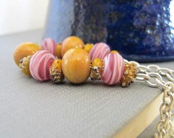 Glass Bracelet, Pink Glass, Mustard Glass, Silver Bracelet, Lampwork Glass, Pebbled Glass, Silver Jewelry, Glass Jewelry