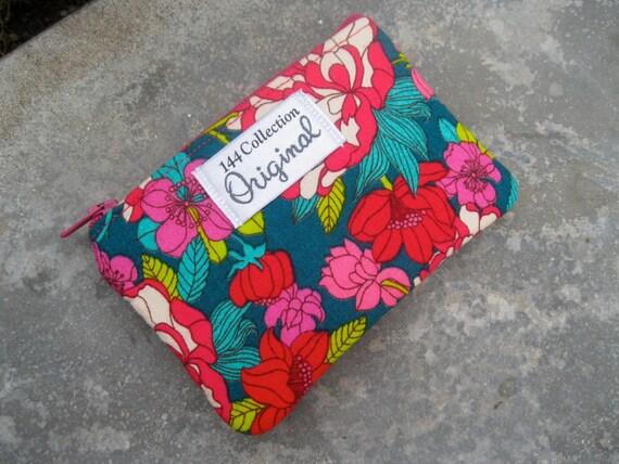Zipper Pouch - Copeland Magenta Teal Bloomsbury Small Zipper Wallet Liberty of London Fabric