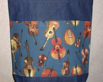 New Large Handmade Music Violin Cello Denim Tote Bag