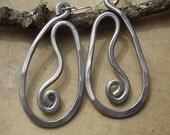 Big Teardrop Vine Earrings - Light Weight Aluminum Jewelry- Long Hammered Metal Wire - Very Big Earrings, Unique Big Earring, Handmade