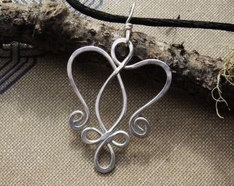 Celtic Angel Heart Sterling Silver Pendant, Celtic Necklace, Celtic Angel Necklace, Celtic Jewelry, Angel Jewelry, Women Christmas Gift