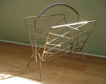 Vintage 1960s Magazine Rack Mid Century Home Wire Organizer 2013215