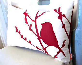 SALE Red on Off White Cotton Bird on Cherry Blossom Pillow