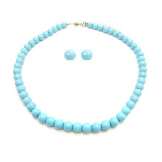 Pearls Jewelry Set For Bridemaids In Blue Pool Color Necklace Stud Set Free Shipping In USA