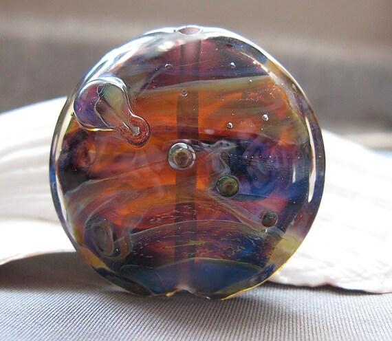 Elizabeth Creations AURORA lentil focal artisan lampwork handmade glass bead -SRA