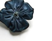 little flower brooch in slate blue