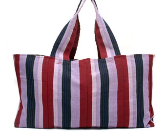 Shopper bag, Large tote bag, Reuseable Grocery bag,  Beach Bag, Bag for Life, Aso Oke, Purple tote bag, Market tote, Berry Tommy tote