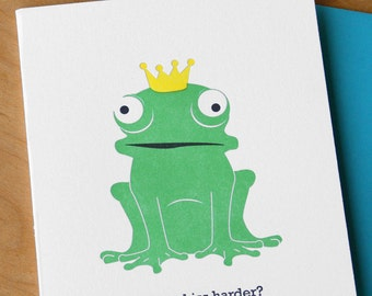 Maybe Kiss Harder - Frog Prince Letterpress Card