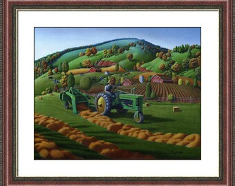 Farm Folk Art, Farmer Baling Hay Field on John Deere Tractor, Framed and Matted Landscape Print, Country Art, Americana Decor, Walt Curlee.
