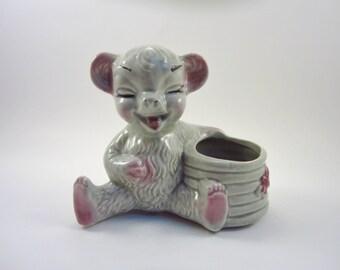 Vintage Bear with Honey Pot Planter - Gray Ceramic Bear