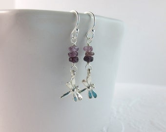 Ombre Purple and Silver Dragonfly Earrings - Purple Spinel and Sterling Silver