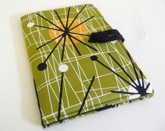 Book style Nook HD Cover, Olive Green Mid Century Modern Fabric