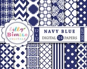 80% off Navy Blue digital scrapbook papers for monogramming, crafts blue and white scrapbooking papers, printable download, damask, chevron
