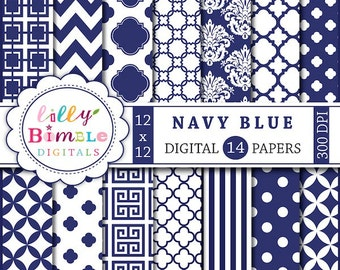 40% off Navy Blue digital scrapbook papers for monogramming, crafts blue and white scrapbooking papers, printable download, damask, chevron