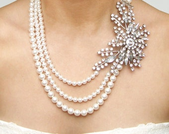 Statement Bridal Necklace, Pearl Wedding Necklace, Vintage Bridal Jewelry, Art Deco Wedding Jewelry, Great Gatsby Jewelry, STARGAZER