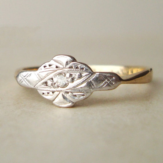 Art Deco Diamond Engagement Ring, Antique Diamond & 9k Gold Wedding Ring, Vintage Engagement ring, Approximate Size US 7