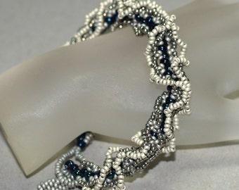 Akemi ... Bracelet . Ruffled . Handmade . Netting . Feminine . Silver . Pewter . Midnight . Oglala . Frilly . Metallic . Rich . Elegant