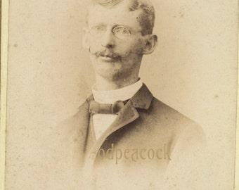 Moustache facial hair Harrisburg glasses cabinet card antique