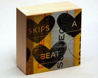 "Gifts for Him, Heart Decor, Skips A Beat Art Box, 4"" x 4"" Girlfriend, Gift for Wife, Gift for Husband"