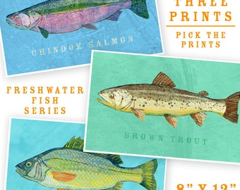 "Fish Artwork- 3 Medium Fishies- Set of 3 Prints 8"" x 12"" Kids Fish Art- Lake House Fish Decor- Fish Nursery- Lake House Art- Gift for Dad"