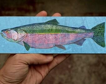 "Medium Freshwater Fish Art Block- Chinook Salmon Art Print- 9"" x 3"" Fish Wall Decor Fisherman Gift for Dad- Gift- Lake House Decor"