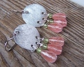 Sunset at the Beach Pink Quarz and Peridot Earrings, Hand forged aluminum, recycled/upcycled dangle earrings