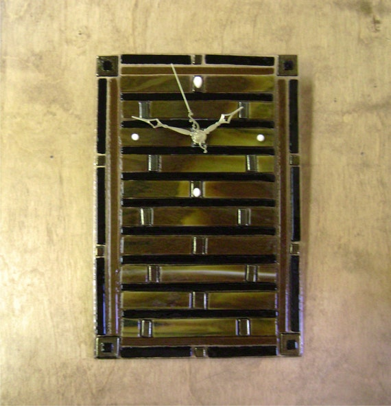 Woodland fused glass wall clock for Fused glass wall clocks
