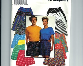 Vintage Simplicity Misses' and Men's Shorts Pattern 0653