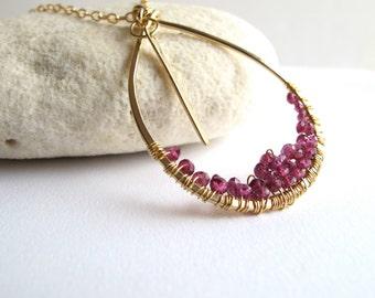 Cascade Garnets Necklace in 14 Karat Gold Filled Metal