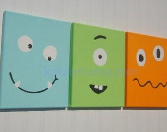 MONSTER BUDDIES Kids ROBOT Canvas Nursery Wall Art Room Decor - Set of 3 - Funny Face