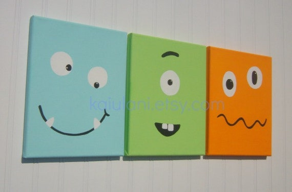 Canvas Nursery Wall Art Room Decor Set Of 3 Funny Face On Etsy