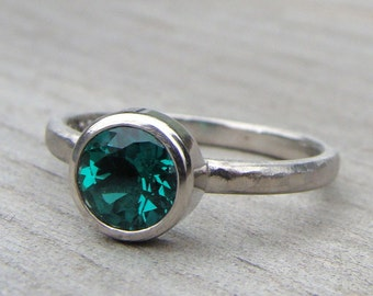 Chatham Emerald and Recycled 950 Palladium Engagement Ring - Diamond Alternative - Made to Order