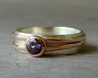 Chatham Alexandrite Engagement, Wedding, or Everyday Ring with Recycled 14k Rose Gold and Recycled Sterling Silver, Made to Order
