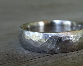 Recycled 950 Palladium Matte Hammered Wedding Band, 6mm Wide, Comfort Fit, Made To Order