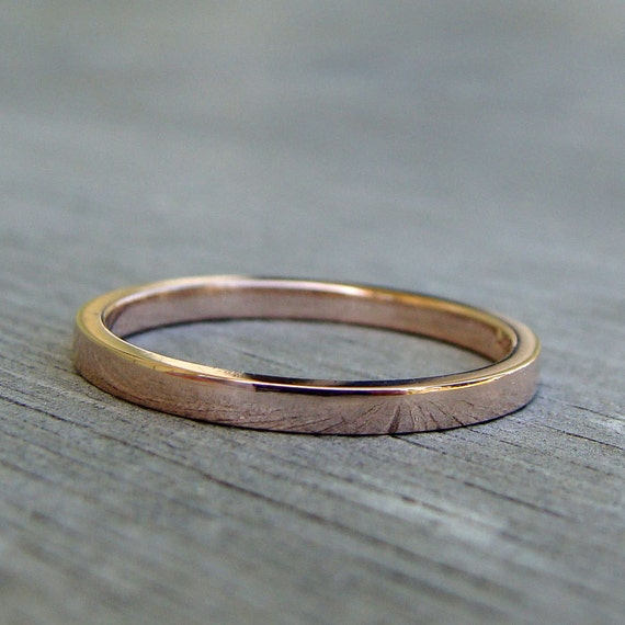 Recycled Wedding Band 14k Rose Gold Wedding Ring Or