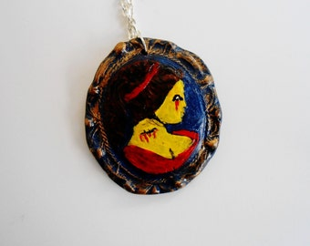 Zombie with cuts, Cameo Necklace and Pendant, Hand Painted Polymer Clay, zombie Jewlery